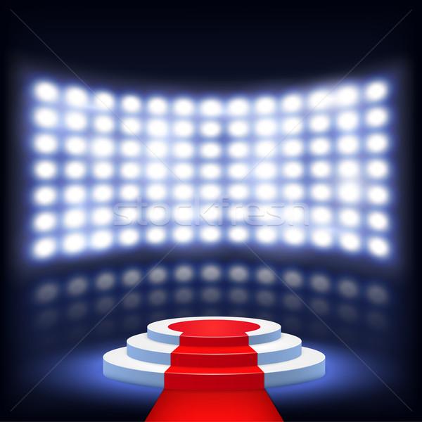 Verlicht podium ceremonie rode loper ontwerp Rood Stockfoto © TarikVision