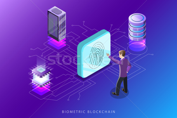 Isometrische vector computer technologie veiligheid gegevens Stockfoto © TarikVision