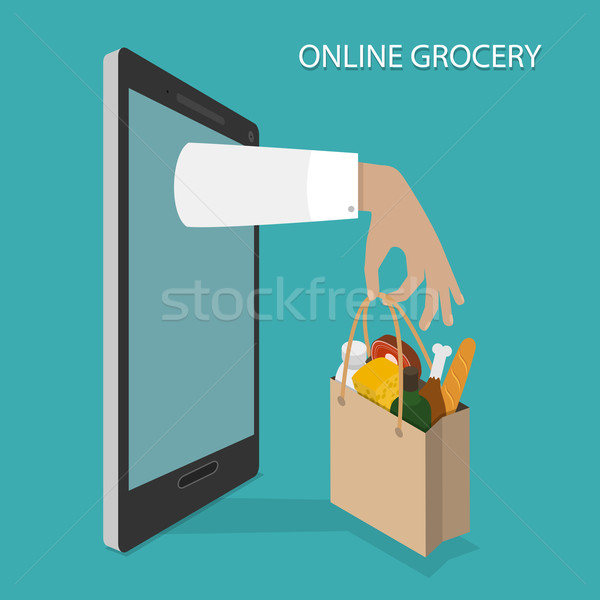 Online Grocery Ordering, Delivery Vector Concept. Stock photo © TarikVision