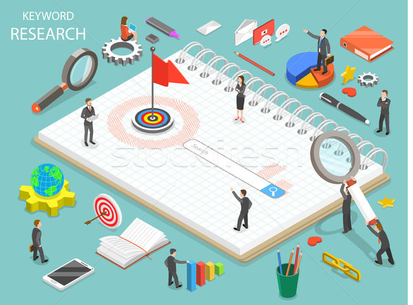 Keyword research flat isometric vector concept. Stock photo © TarikVision