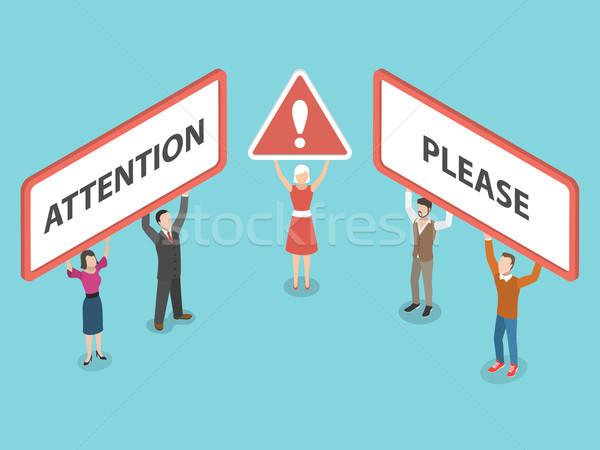 Atenção isométrica pessoas conselho título Foto stock © TarikVision