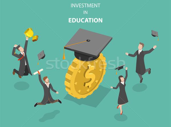 инвестиции образование изометрический вектора деньги экономия Сток-фото © TarikVision