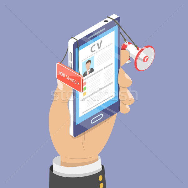 Online job search isometric flat vector concept. Stock photo © TarikVision