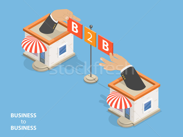 B2B flat isometric vector concept. Stock photo © TarikVision