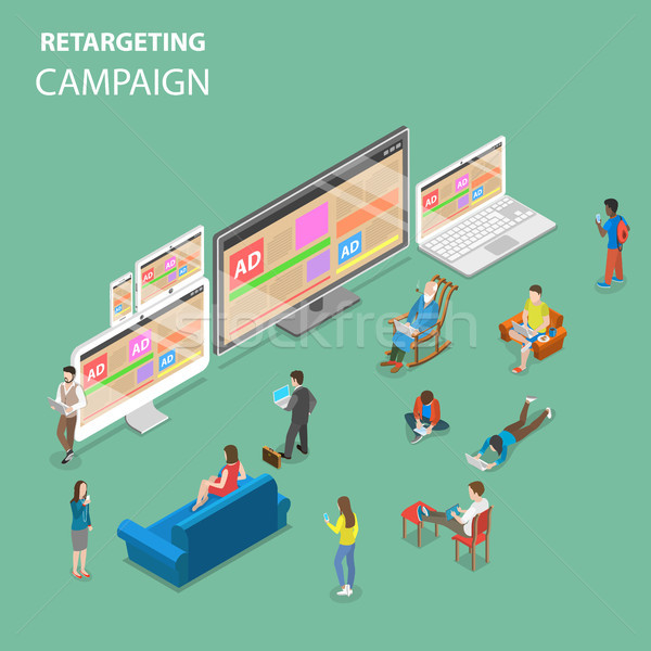 Retargeting campaign flat isometric vector concept Stock photo © TarikVision