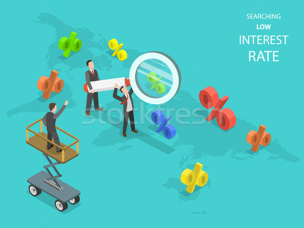 Searching low interest rate flat isometric vector. Stock photo © TarikVision