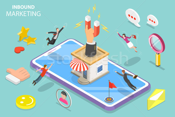 Digital inbound marketing strategy isometric flat vector concept. Stock photo © TarikVision