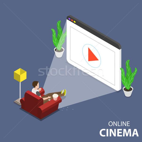 Online home film theater isometrische vector Stockfoto © TarikVision