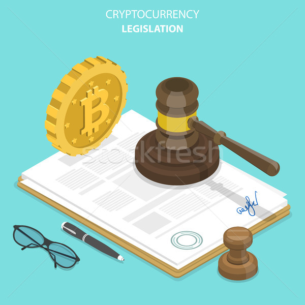 Wetgeving isometrische vector document bitcoin hamer Stockfoto © TarikVision