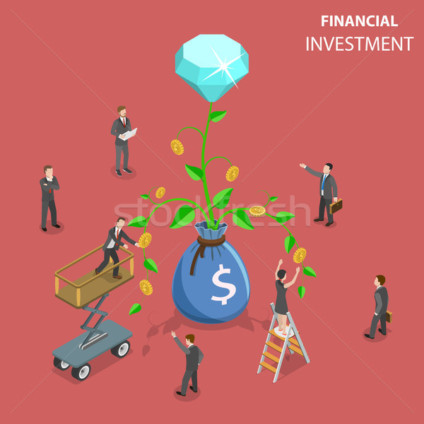 Financial investment flat isometric vector concept illustration. Stock photo © TarikVision
