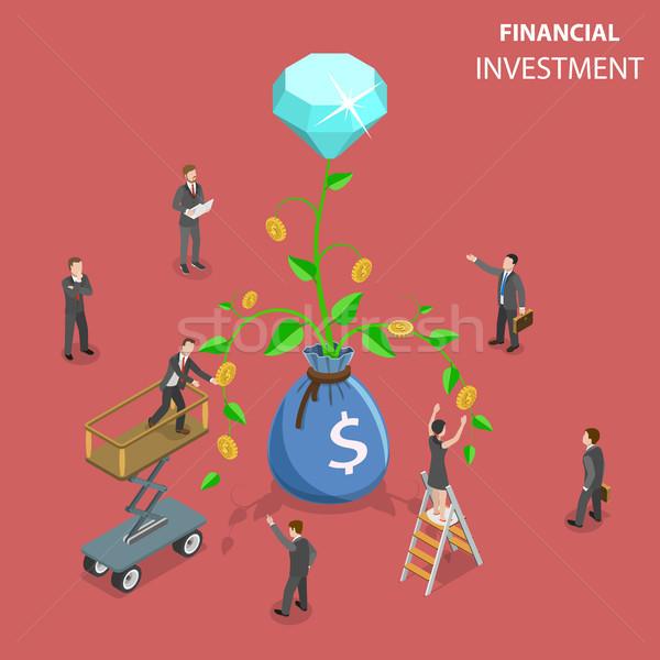 Pénzügyi beruházás izometrikus vektor marketing elemzés Stock fotó © TarikVision