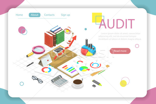 Financial audit flat isometric vector concept illustration. Stock photo © TarikVision
