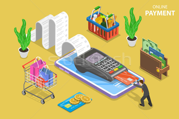 Mobile payment flat isometric vector conceptual illustration. Stock photo © TarikVision