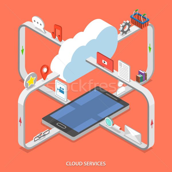 Cloud services flat isometric vector concept.  Stock photo © TarikVision