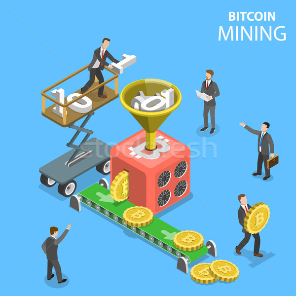 Isometric vector concept illustration of cryptocurrency mining. Stock photo © TarikVision