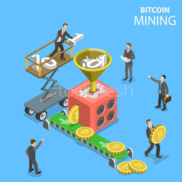 Izometrikus bányászat vektor bitcoin farm digitális Stock fotó © TarikVision