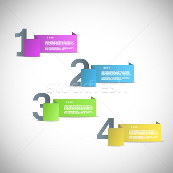 Paper templates for progress or versions presentation eps10 vect Stock photo © TarikVision