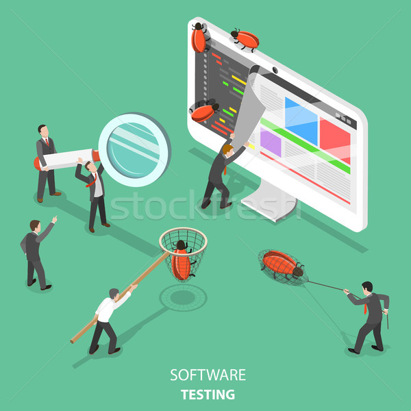Software testing flat isometric vector concept. Stock photo © TarikVision