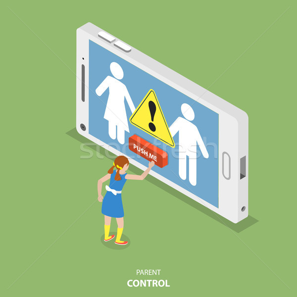 Parent control flat isometric vector concept. Stock photo © TarikVision