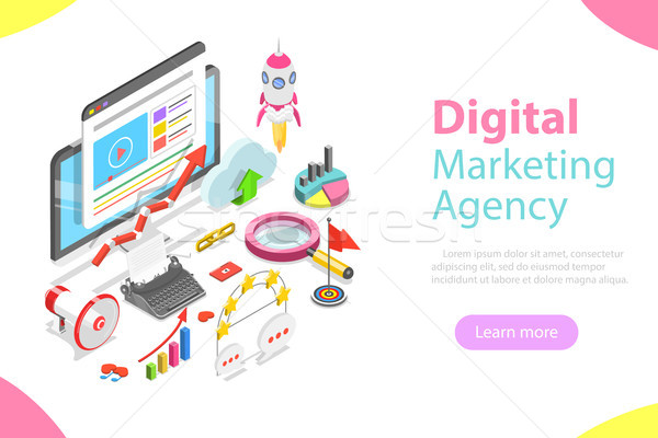 Digital marketing agency flat isometric vector. Stock photo © TarikVision