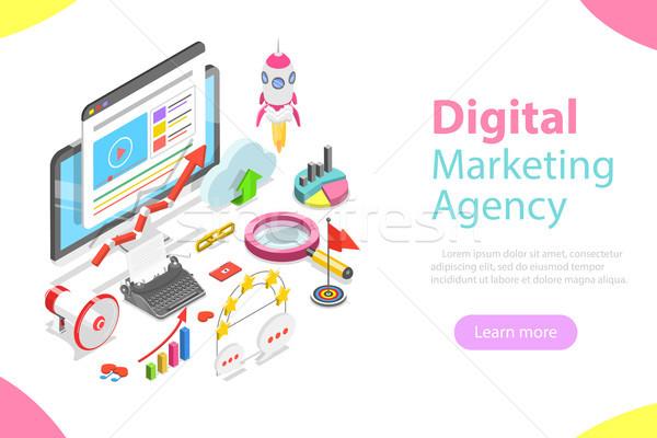 Numérique marketing agence isométrique vecteur réseau social Photo stock © TarikVision