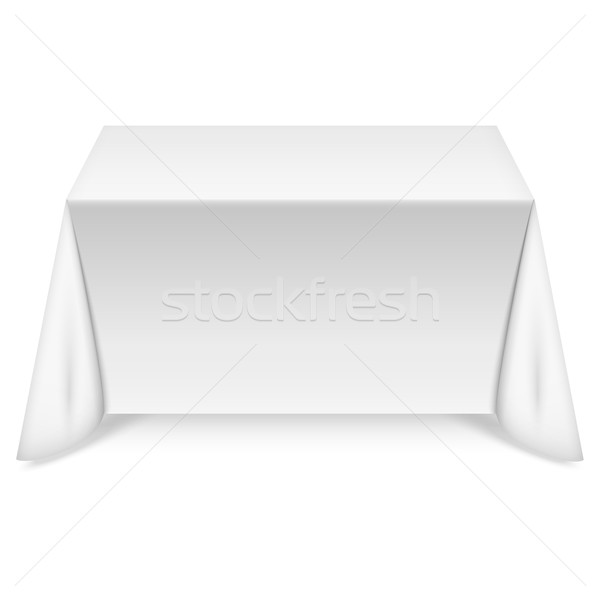 Rectangulaire table blanche nappe texture alimentaire Photo stock © TarikVision