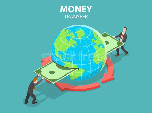 Internacional transferência de dinheiro isométrica vetor on-line bancário Foto stock © TarikVision