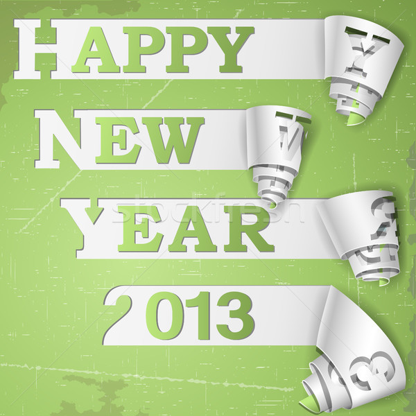 Happy New Year curled strips on grunge paper Stock photo © TarikVision