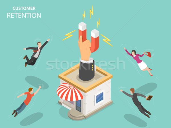Customer retention flat isometric vector concept. Stock photo © TarikVision