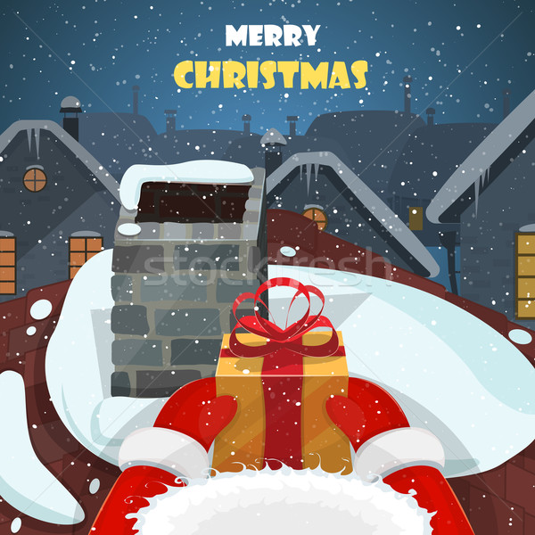 Merry Christmas postcard vector illustration.  Stock photo © TarikVision