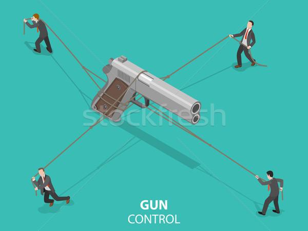 Gun control flat isometric vector concept. Stock photo © TarikVision