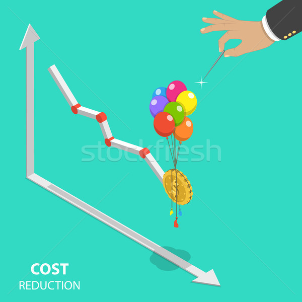Cost reduction flat isometric vector concept. Stock photo © TarikVision