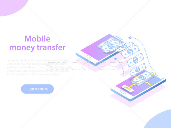 Móviles transferencia de dinero vector dos smartphones Foto stock © TarikVision