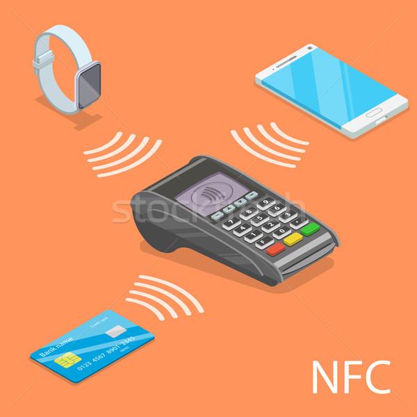 Izometrikus vektor mező kommunikáció telefon vásárlás Stock fotó © TarikVision