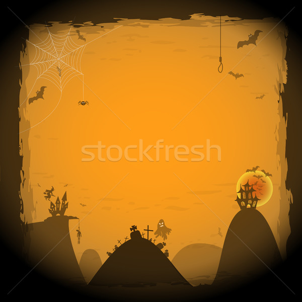 Stock photo: Happy Halloween card with border vector illustration