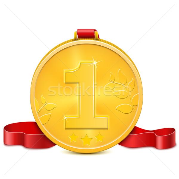 Médaille d'or métal médaille gagner attribution Photo stock © TarikVision