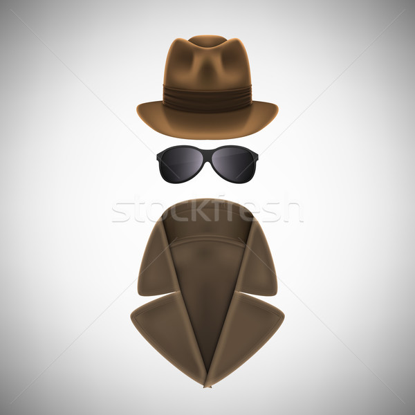 Private Eye Hat, Glasses and Raincoat. Stock photo © TarikVision