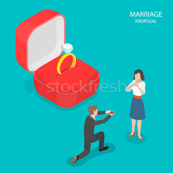 Małżeństwa wniosek izometryczny wektora człowiek pierścień Zdjęcia stock © TarikVision