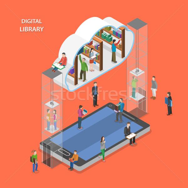 Stockfoto: Digitale · bibliotheek · isometrische · vector · mensen · wolk