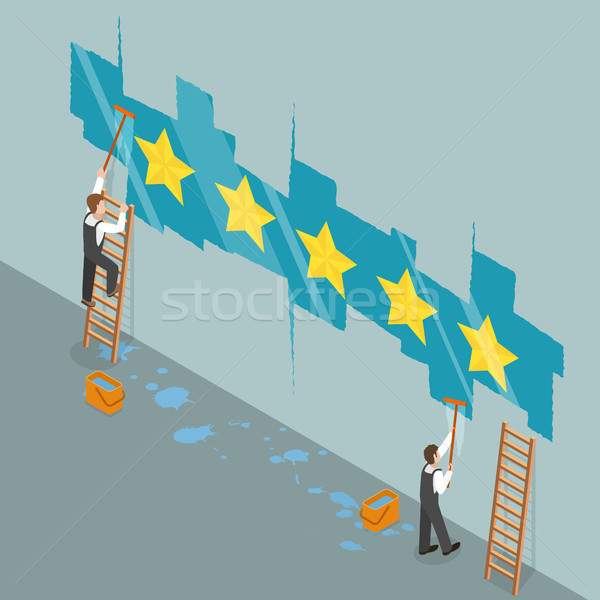 Five star rating flat isometric vector concept Stock photo © TarikVision