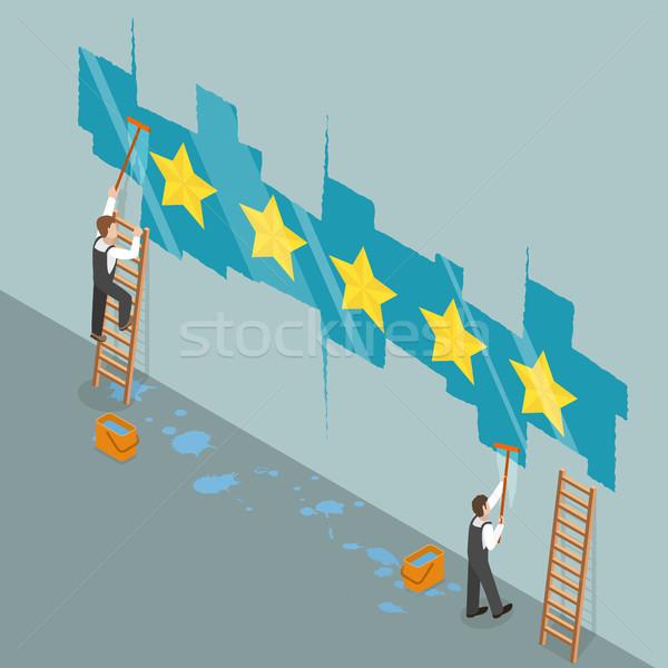 Vijf star isometrische vector twee werknemers Stockfoto © TarikVision