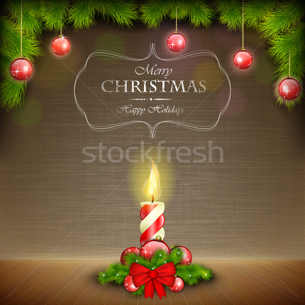 Christmas Candle On Scratched Background. Stock photo © TarikVision