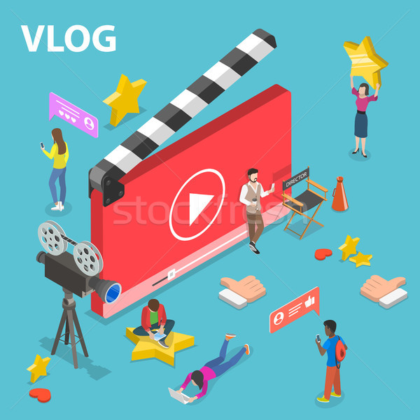 Flat isometric vector concept of video blog. Stock photo © TarikVision