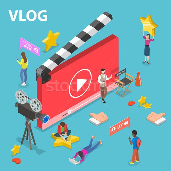 Isometrische vector video blog online kanaal Stockfoto © TarikVision