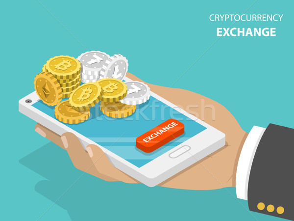 Cryptocurrency exchange flat isometric vector concept. Stock photo © TarikVision