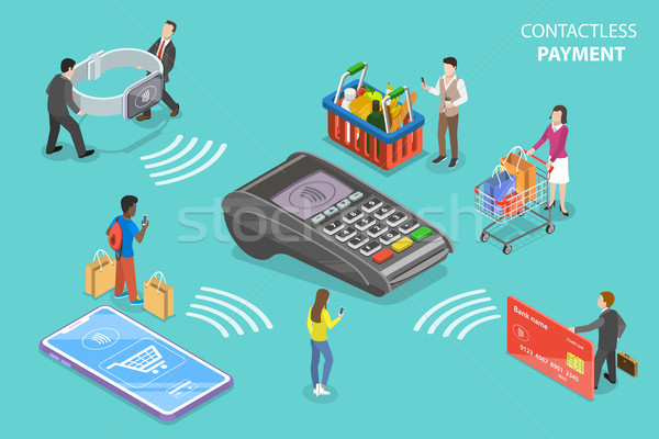 Contactless payment flat isometric vector conceptual illustration. Stock photo © TarikVision