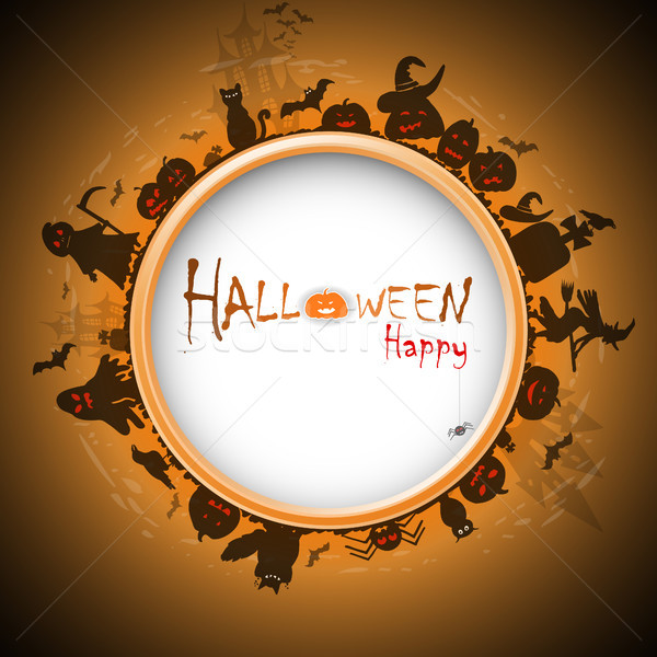 Stock photo: Happy Halloween with devildom in fog vector illustration