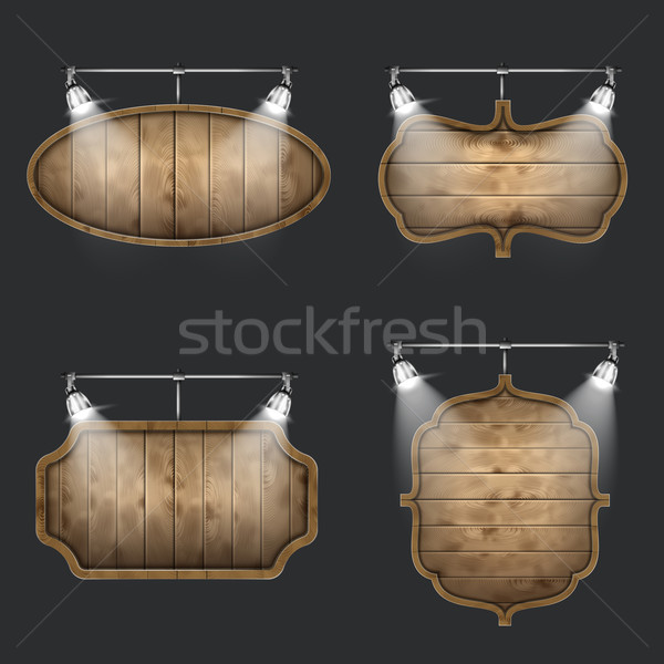 Illuminated Set of Wooden Signboards. Stock photo © TarikVision