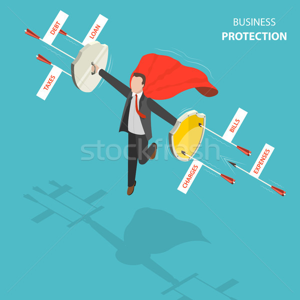 Business protection flat, isometric low poly vector concept Stock photo © TarikVision
