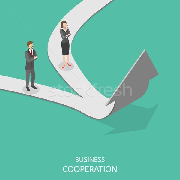 Stock fotó: üzlet · együttműködés · izometrikus · vektor · kettő · vállalkozók